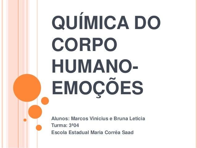 QUÍMICA DO CORPO HUMANO- EMOÇÕES Alunos: Marcos Vinicius e Bruna Leticia Turma: 3ª04 Escola Estadual Maria Corrêa Saad