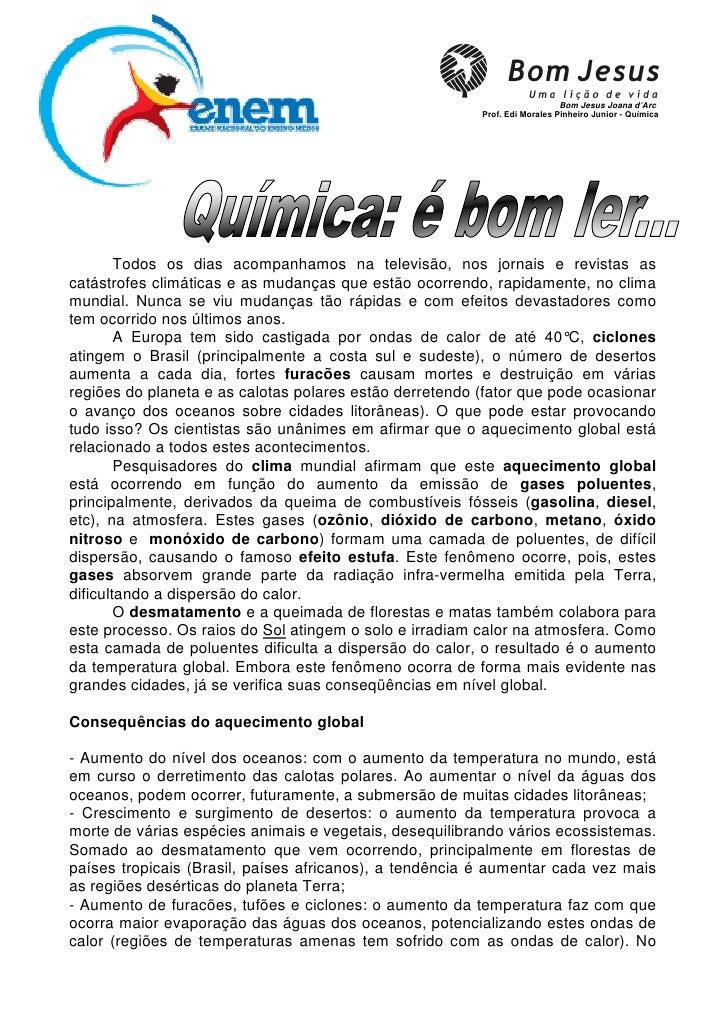 Bom Jesus Joana d'Arc                                                          Prof. Edi Morales Pinheiro Junior - Química...