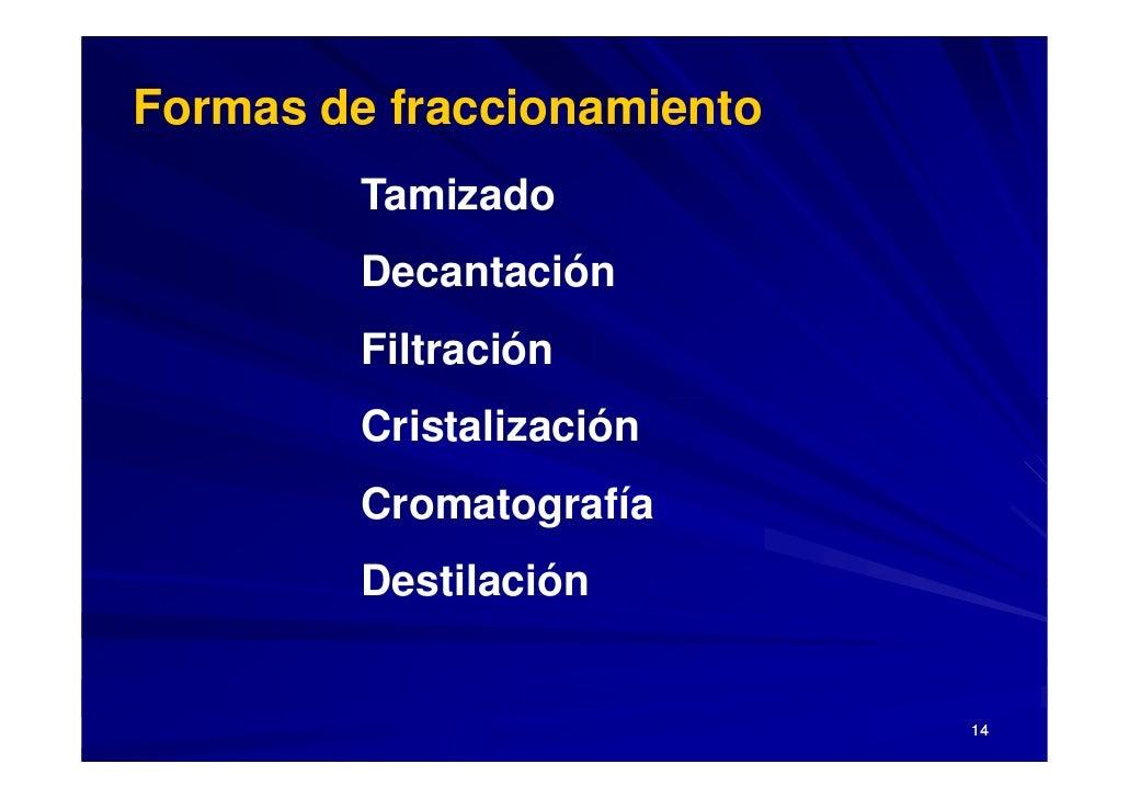 Formas de fraccionamiento          Tamizado          Decantación          Filtración          Cristalización          Crom...