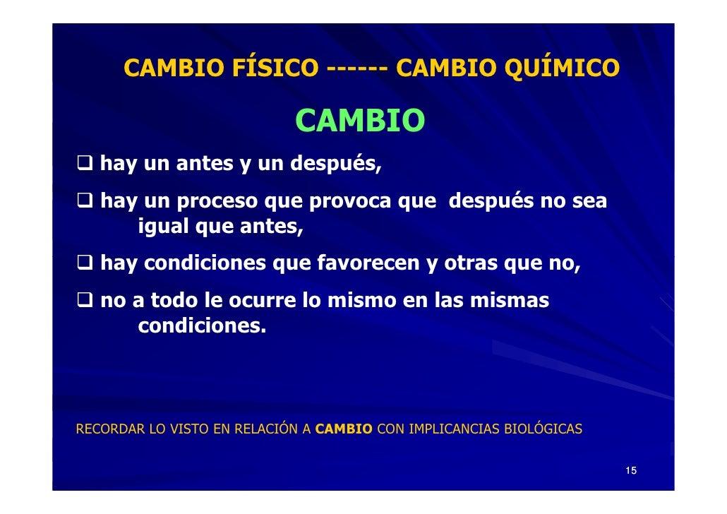 CAMBIO FÍSICO ------ CAMBIO QUÍMICO                              CAMBIO    hay un antes y un después,    hay un proceso qu...