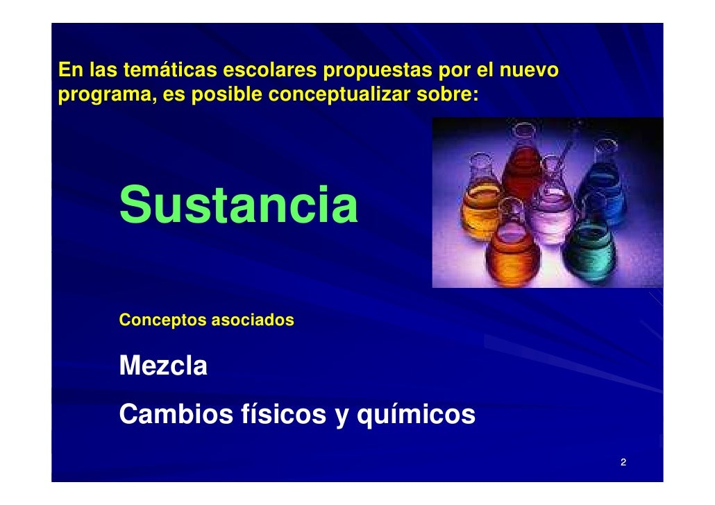 En las temáticas escolares propuestas por el nuevo programa, es posible conceptualizar sobre:           Sustancia        C...