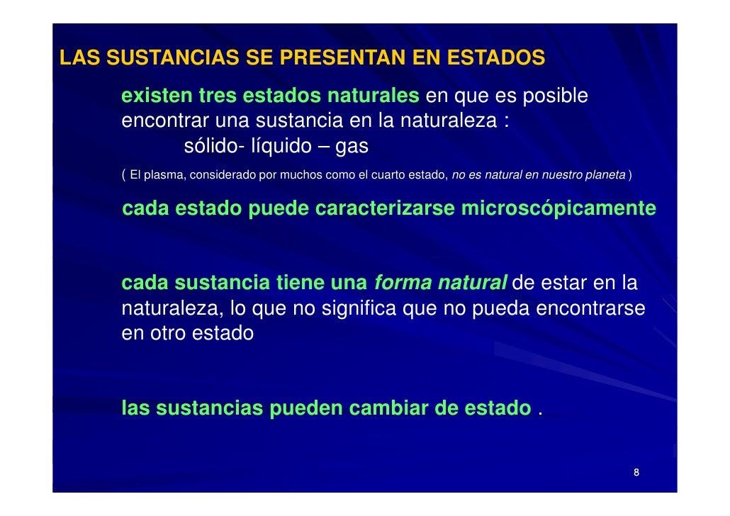 LAS SUSTANCIAS SE PRESENTAN EN ESTADOS     existen tres estados naturales en que es posible     encontrar una sustancia en...