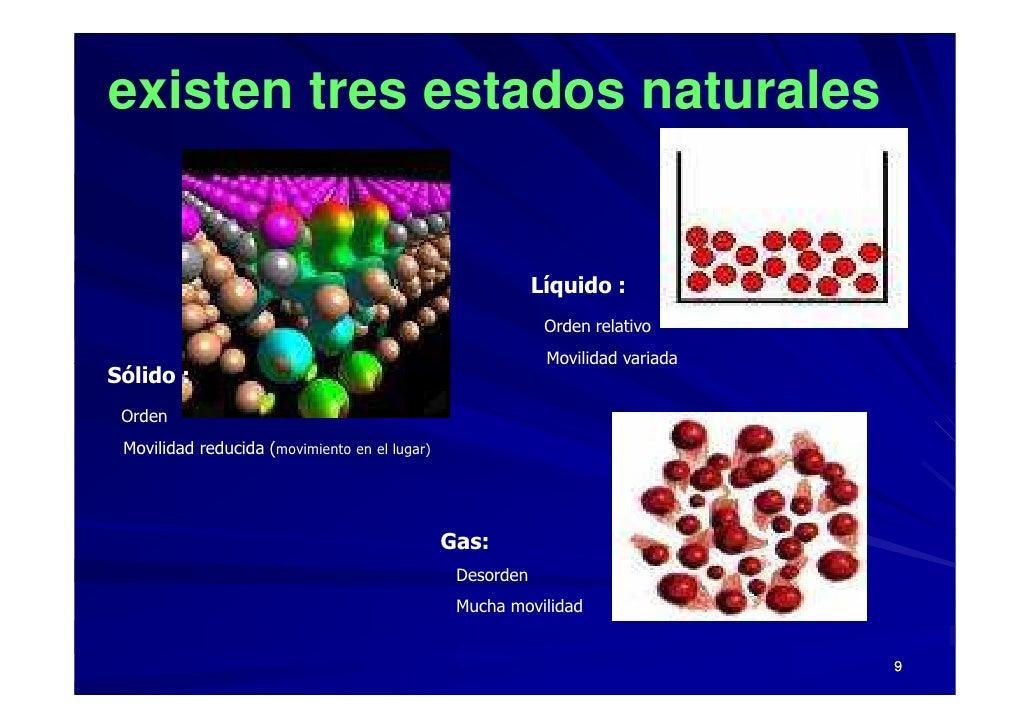 existen tres estados naturales                                                              Líquido :                     ...