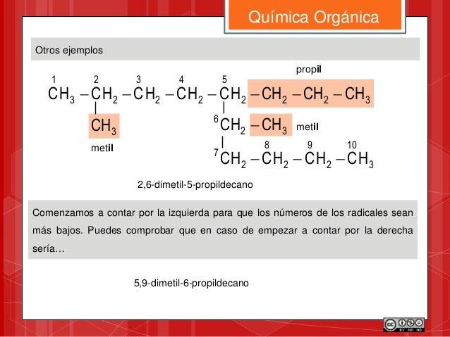Otros ejemplos Química Orgánica 3222 5 2 4 2 3 2 2 3 1 CHCHCHHCHCHCHCHC  32 6 CHCH 3CH metil propil 3 10 2 9 2 8 2...