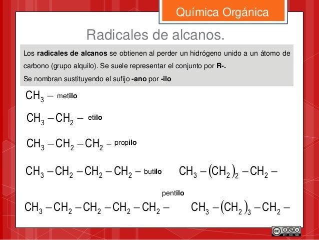 Los radicales de alcanos se obtienen al perder un hidrógeno unido a un átomo de carbono (grupo alquilo). Se suele represen...