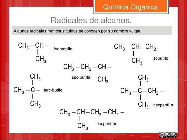 Algunos radicales monosustituidos se conocen por su nombre vulgar. Química Orgánica Radicales de alcanos. CHCH3 3CH isop...