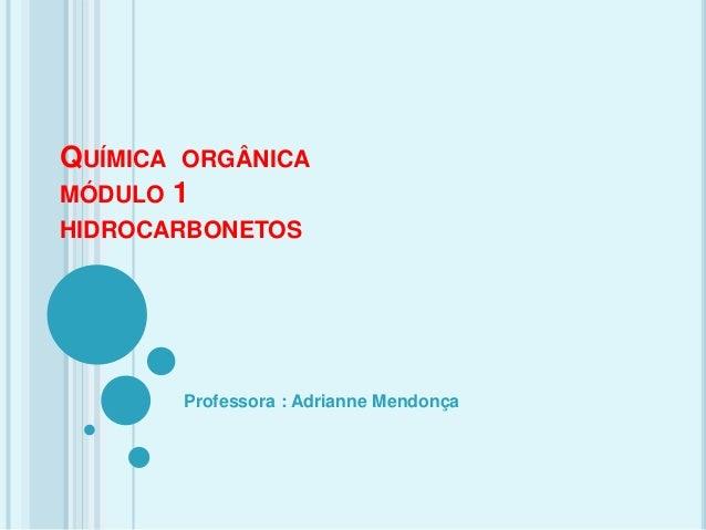 QUÍMICA ORGÂNICA MÓDULO 1 HIDROCARBONETOS Professora : Adrianne Mendonça