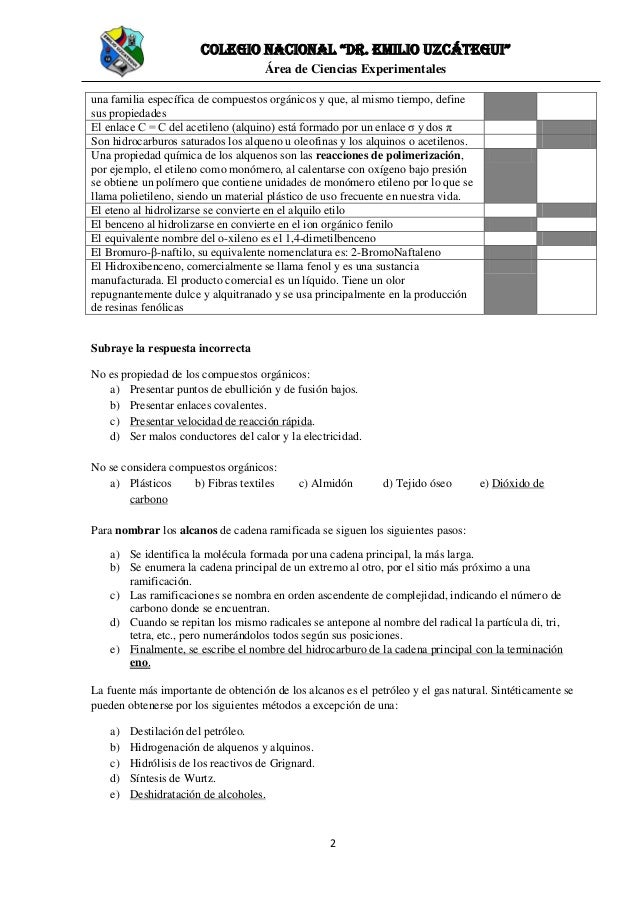 Quimica Organica Banco De Pregunta Para 3ro Bgu