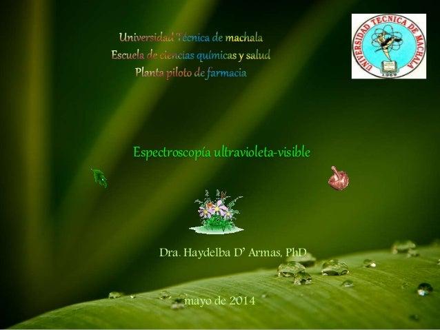 Espectroscopía ultravioleta-visible  Dra. Haydelba D' Armas, PhD  mayo de 2014
