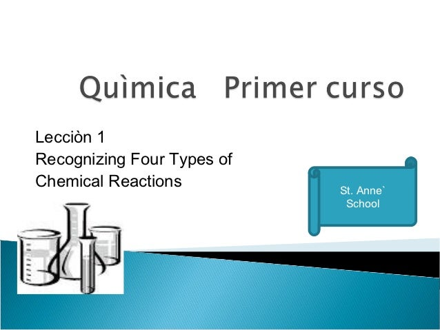 Lecciòn 1Recognizing Four Types ofChemical Reactions          St. Anne`                             School
