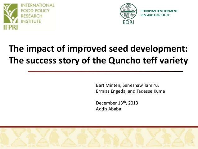 ETHIOPIAN DEVELOPMENT RESEARCH INSTITUTE  The impact of improved seed development: The success story of the Quncho teff va...