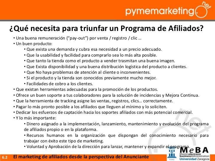 """¿Qué necesita para triunfar un Programa de Afiliados?      • Una buena remuneración (""""pay-out"""") por venta / registro / cli..."""