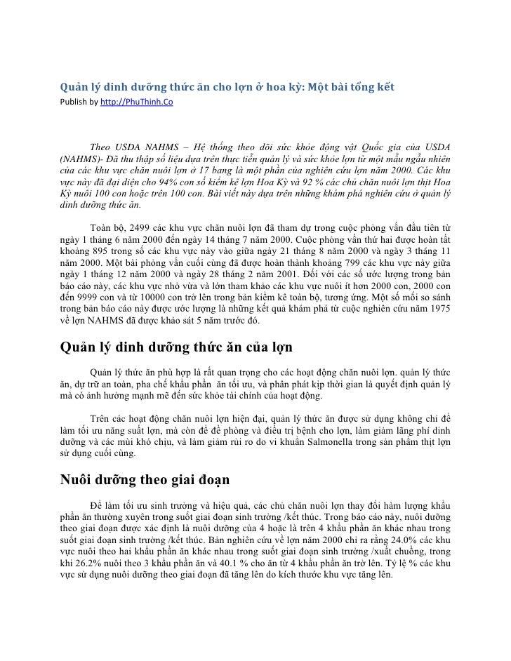 Quản lý dinh dưỡng thức ăn cho lợn ở hoa kỳ: Một bài tổng kếtPublish by http://PhuThinh.Co       Theo USDA NAHMS – Hệ thốn...