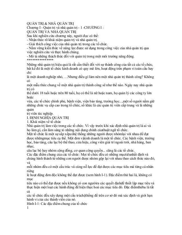QUẢN TRỊ & NHÀ QUẢN TRỊChương I - Quản trị và nhà quản trị - 1 -CHƯƠNG I :QUẢN TRỊ VÀ NHÀ QUẢN TRỊSau khi nghiên cứu chươn...