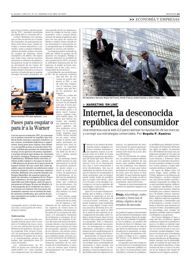 EL MUNDO / AÑO XXI / Nº 73 / DOMINGO 5 DE ABRIL DE 2009                                                                   ...