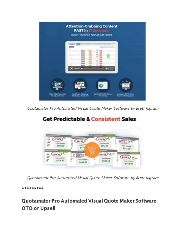 Image of: Pro Visual Quote Maker Software By Brett Ingram 4 Pinterest Quotamator Pro Automated Visual Quote Maker Software