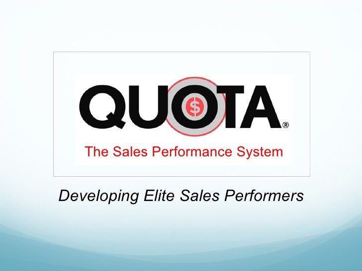 Developing Elite Sales Performers The Sales Performance System