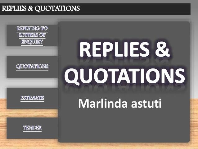REPLIES & QUOTATIONS Marlinda astuti