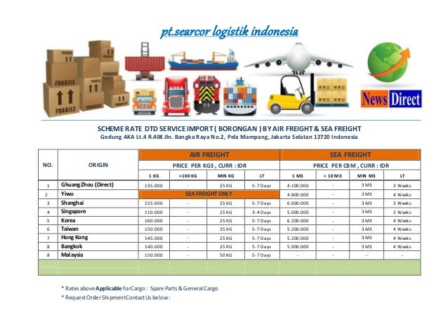 pt.searcor logistik indonesia SCHEME RATE DTD SERVICE IMPORT ( BORONGAN ) BY AIR FREIGHT & SEA FREIGHT Gedung AKA Lt.4 R.4...