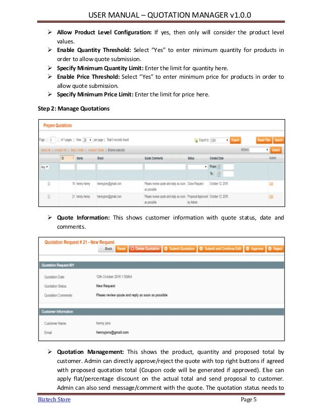 Magento Quotation Manager Extension, Manage Order Proposal Quote