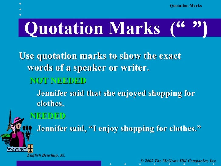 how to show used parts of quotation