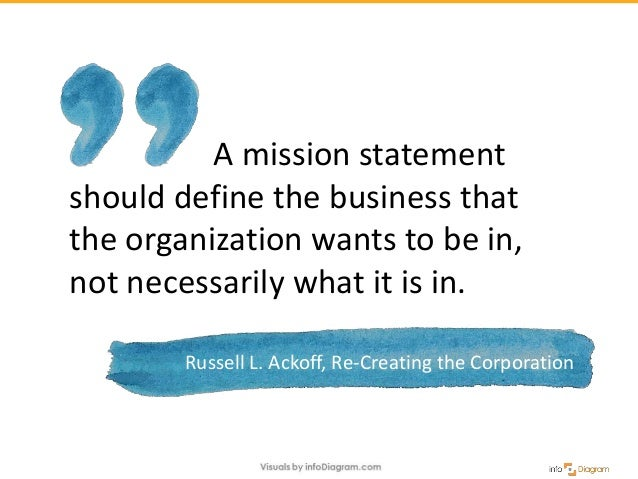 A mission statement should define the business that the organization wants to be in, not necessarily what it is in. Russel...