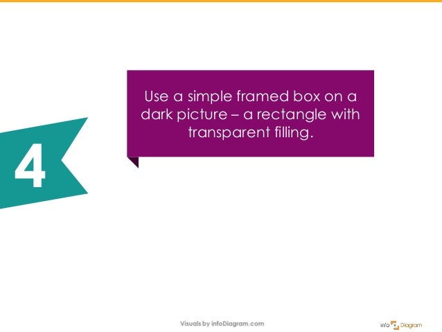 Use a simple framed box on a dark picture – a rectangle with transparent filling. 4