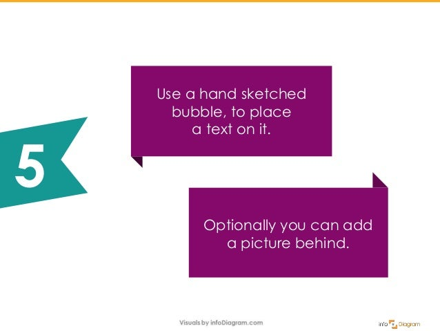 Optionally you can add a picture behind. Use a hand sketched bubble, to place a text on it. 5
