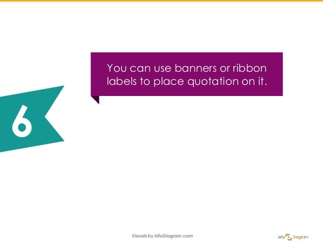 You can use banners or ribbon labels to place quotation on it. 6