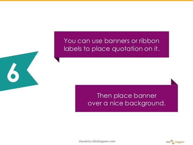 Then place banner over a nice background. You can use banners or ribbon labels to place quotation on it. 6