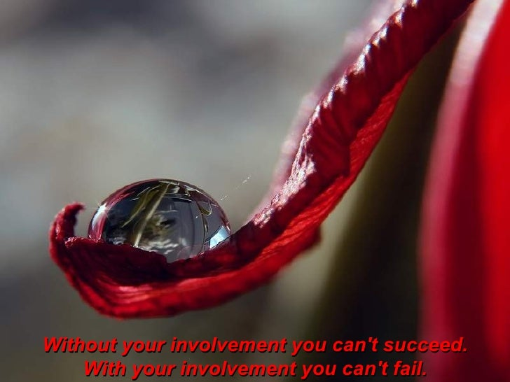 Without your involvement you can't succeed. With your involvement you can't fail.