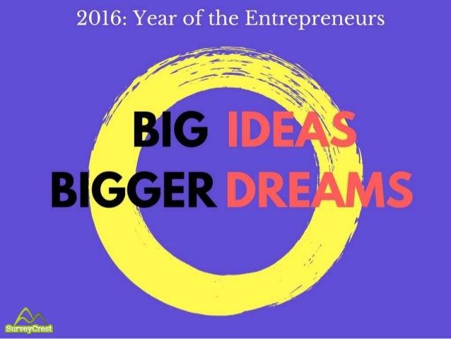 2016: Year of the Entrepreneurs Big Ideas Bigger Dreams