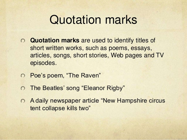 quotation marks or italics for essay titles Get an answer for 'do you quote, italicize, or bold the title of a photograph in an mla formatted essay' and find homework help for other citation questions at enotes.
