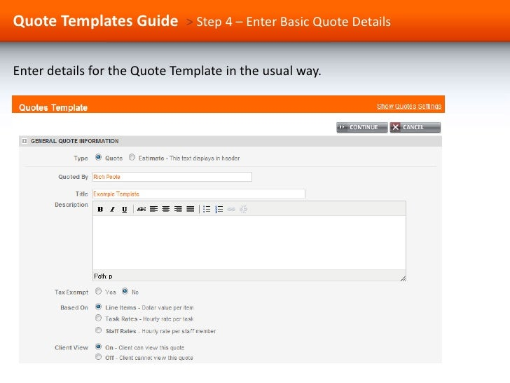 a guide to using quote templates in proworkflow
