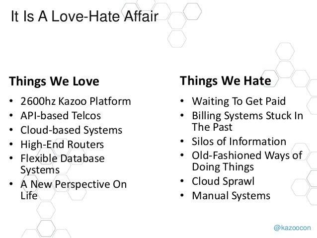 @kazoocon It Is A Love-Hate Affair Things We Love • 2600hz Kazoo Platform • API-based Telcos • Cloud-based Systems • High-...