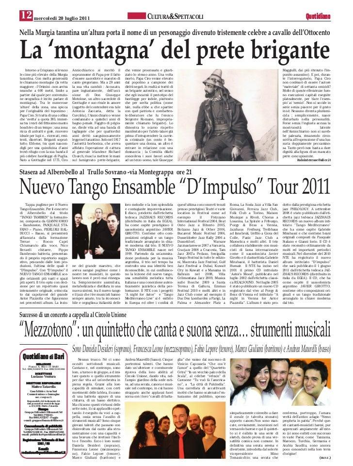 12 mercoledì 20 luglio 2011                                                                       CULTURA&SPETTACOLI      ...