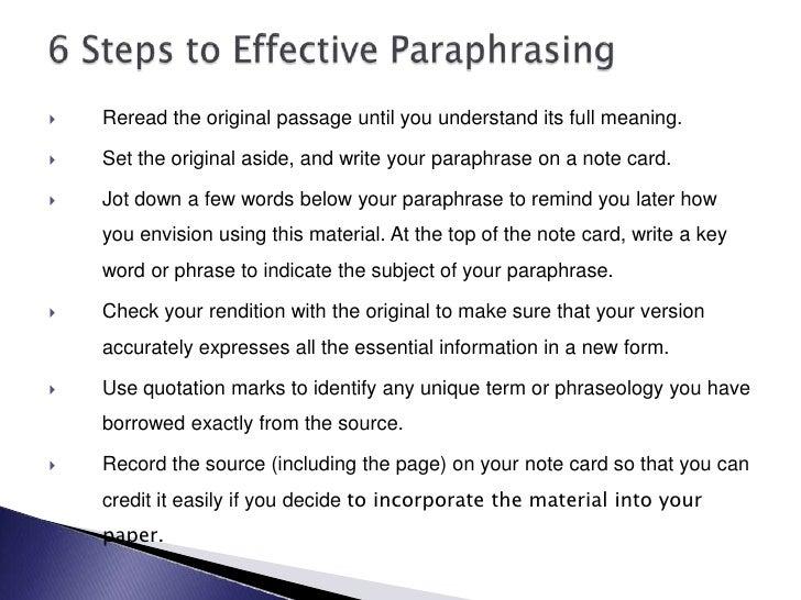 listening and paraphrasing essay
