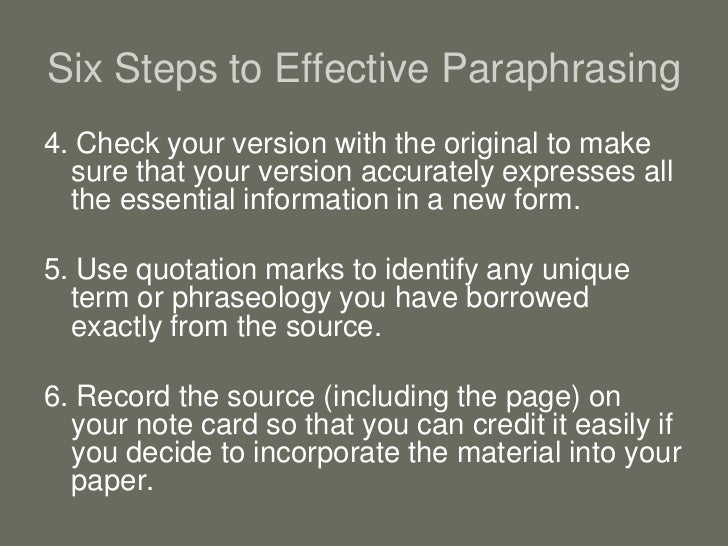 quoting summarizing and paraphrasing a source Synthesizing information from sources there are three ways to incorporate information from other sources into your paper: quoting, paraphrasing, and summarizing.