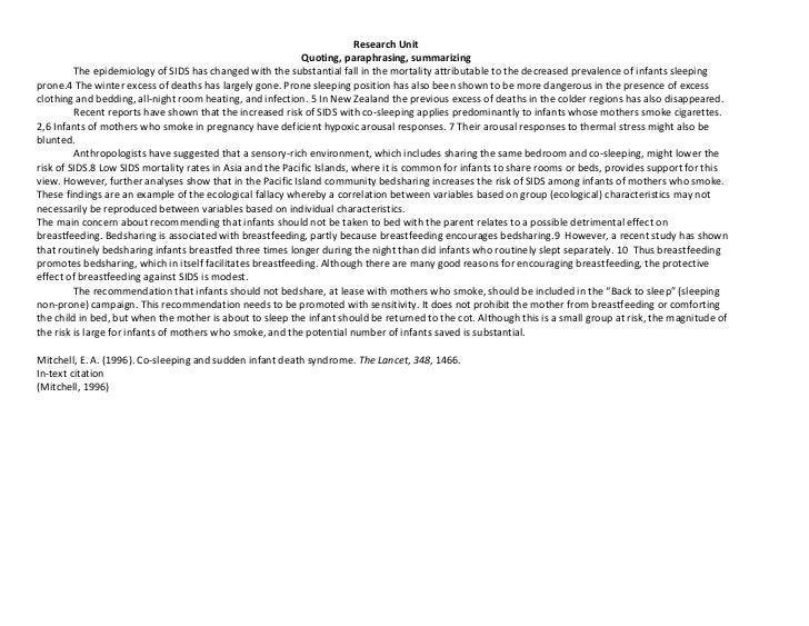 Research Unit                                                            Quoting, paraphrasing, summarizing         The ep...