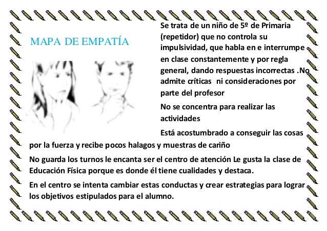 MAPA DE EMPATÍA Se trata de un niño de 5º de Primaria  (repetidor) que no controla su  impulsividad, que habla en e interr...