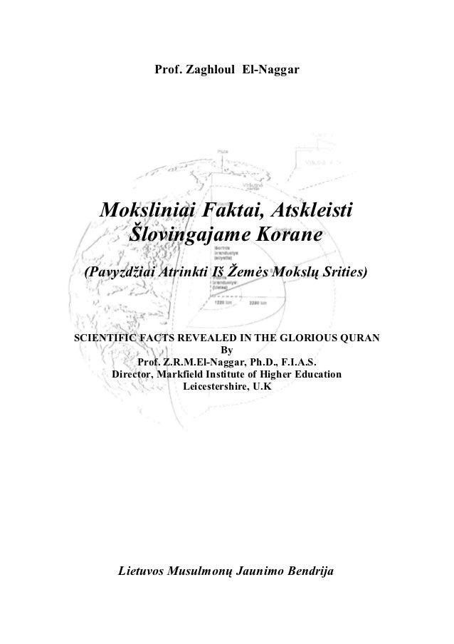 Prof. Zaghloul El-Naggar    Moksliniai Faktai, Atskleisti      Šlovingajame Korane (Pavyzdžiai Atrinkti Iš Žemės Mokslų Sr...