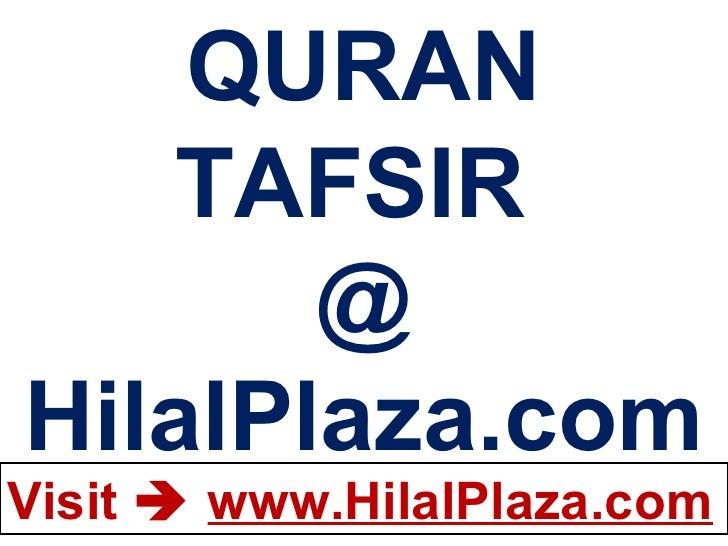 QURAN TAFSIR  @ HilalPlaza.com