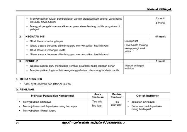 Rpp Quran Hadits Kelas 5 Mi Rpp Qur An Hadits Kurikulum Madrasah Ibtidaiyah Silabus Rpp Qur An