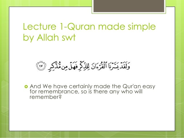 Quranic arabic made simple lecture 1