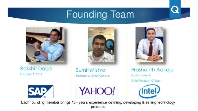 Founding Team Rakshit Daga Founder & CEO Sumit Mishra Founder & Chief Qurater Prashanth Adiraju Co-Founder & Chief Product...