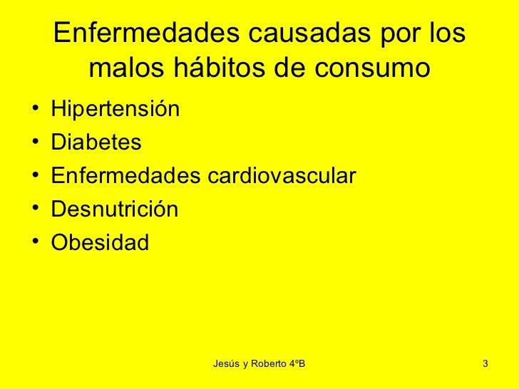 Relación entre los hábitos de consumo y algunas enfermedades
