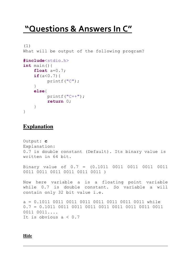 """""""Questions & Answers In C""""<br />(1)<br />What will be output of the following program?<br />#include<stdio.h> <br />int m..."""