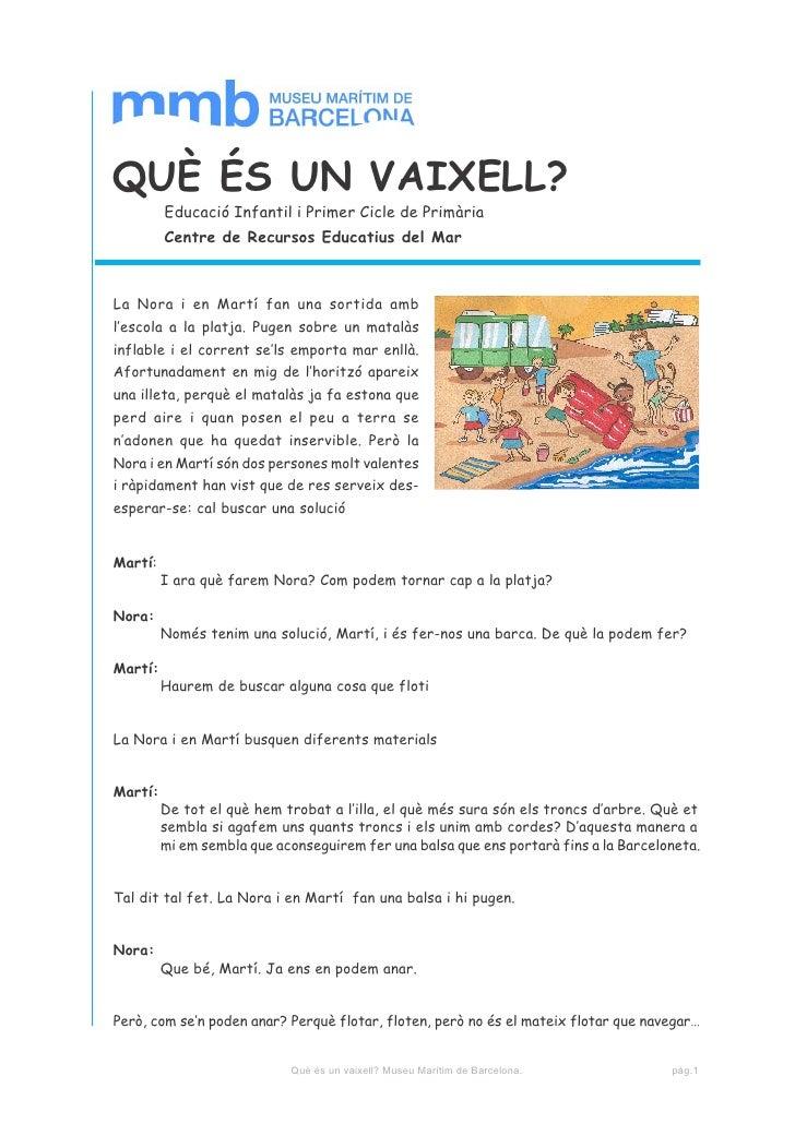 QUÈ ÉS UN VAIXELL?         Educació Infantil i Primer Cicle de Primària         Centre de Recursos Educatius del MarLa Nor...