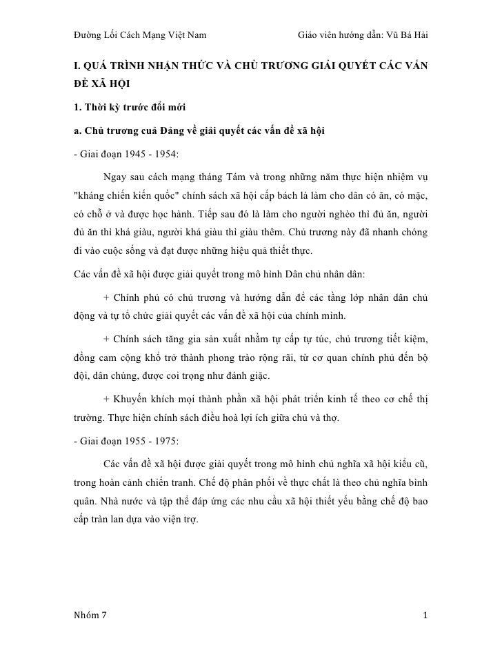 Đường Lối Cách Mạng Việt Nam                        Giáo viên hướng dẫn: Vũ Bá HảiI. QUÁ TRÌNH NHẬN THỨC VÀ CHỦ TRƯƠNG GIẢ...