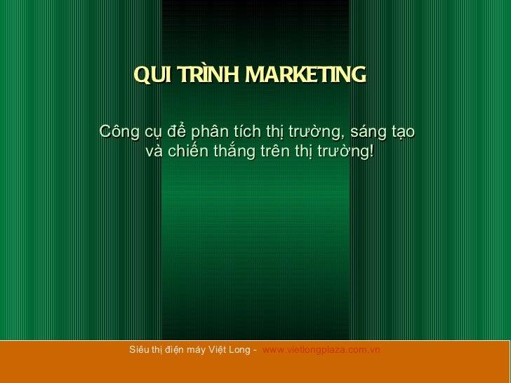 QUI TRÌNH MARKETING Công cụ để phân tích thị trường, sáng tạo  và chiến thắng trên thị trường! Siêu thị điện máy Việt Long...